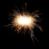 Бенгальский огонь фейерверка на черной предпосылке Стоковая Фотография