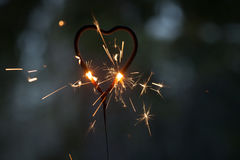 Бенгальский огонь формы сердца Стоковое фото RF