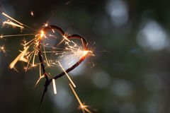 Бенгальский огонь формы сердца Стоковое Фото