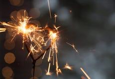 Бенгальский огонь формы сердца Стоковая Фотография RF