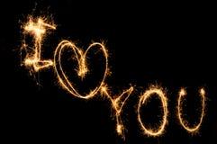 Бенгальский огонь я тебя люблю Стоковое Изображение RF