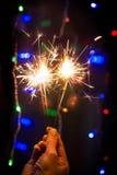 Бенгальский огонь для торжества и партии Накалять, искра Стоковое Изображение RF