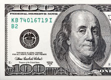 Бенджамин Франклин на счете Макрос снятый 100 долларов Стоковое фото RF