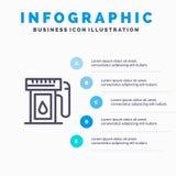Бензин, индустрия, масло, линия падения значок с предпосылкой infographics представления 5 шагов иллюстрация вектора