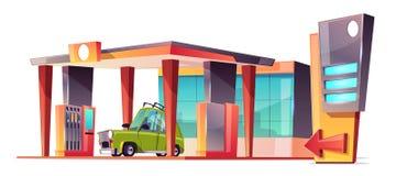 Бензоколонка мультфильма вектора с зеленым автомобилем иллюстрация вектора