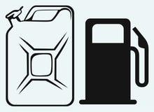 Бензоколонка и канистра стоковая