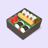 бенто Юта положите японский обед в коробку Смешная еда шаржа Равновеликая красочная иллюстрация вектора иллюстрация штока