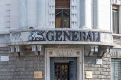 Бергамо, Италия - 30-ое мая 2018: Логотип страхования Generali compan стоковые изображения