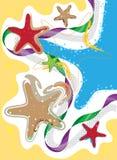 Береговая линия, взморье и морская звёзда, покрасила стилизованный состав Стоковые Фотографии RF