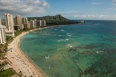 Береговая линия пляжа Waikiki Стоковые Фото