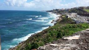 Береговая линия старого Сан-Хуана Стоковая Фотография