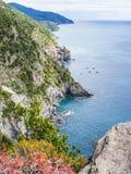 Береговая линия Cinque Terre в Италии Стоковые Изображения