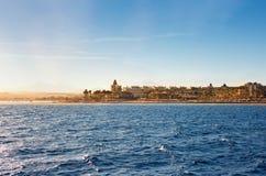 Береговая линия Hurghada на заходе солнца, Египет стоковое изображение rf