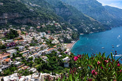 Береговая линия Positano в Италии Стоковая Фотография RF