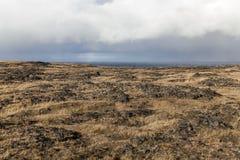 Береговая линия Snaefellsnes вулканическая на пасмурный день Стоковое Изображение RF