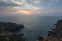 Береговая линия перед рассветом стоковая фотография rf