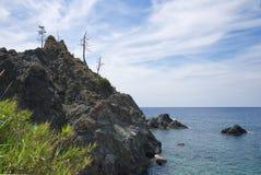 Береговая линия Bonassola - Ligurian море - Лигурия - Италия Стоковое Изображение RF