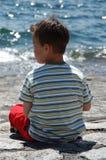 берег озера мальчика стоковое фото rf