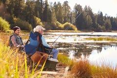 Берег озера рыбной ловли сына отца и взрослого, Big Bear, Калифорния Стоковые Изображения RF