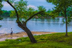 Берег реки Арканзаса вдоль Fort Smith Riverwalk Стоковая Фотография RF