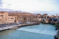 Берег реки Тибра Стоковое Фото