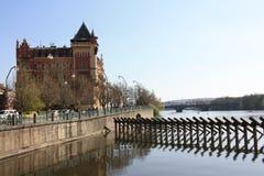 берег реки prague Стоковое Изображение RF