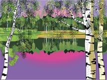 Береза и озеро witn ландшафта Стоковое Изображение