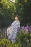 Беременная девушка идет до зацветая lupine поле 1682 стоковая фотография rf