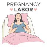 Беременная женщина в больничной койке с дышая тренировками и трудовой болью иллюстрация вектора