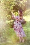 Беременная женщина в саде стоковое фото rf