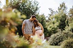 Беременная женщина держа руки с ее партнером пока идущ в природу стоковое изображение