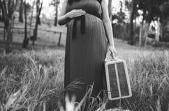Беременная женщина держа чемодан Стоковые Фотографии RF