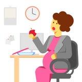 Беременная женщина есть в офисе Стоковое Изображение RF
