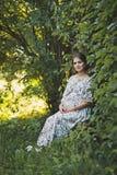 Беременная женщина ждать чудо идет в сад 1659 стоковая фотография rf