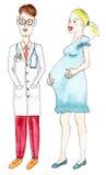 Беременная женщина и доктор нарисованные рукой иллюстрация вектора
