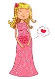 Беременная женщина иллюстрации вектора милая в нежных цветах Стоковое Изображение
