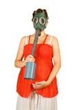 беременная женщина маски удерживания газа живота Стоковые Изображения RF