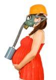 беременная женщина маски hardhat газа Стоковое Изображение