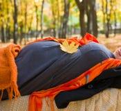 беременная женщина парка осени Стоковые Фотографии RF