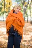 беременная женщина парка осени Стоковая Фотография RF
