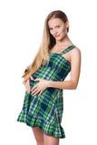 беременная женщина платья зеленая Стоковое фото RF