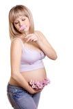 беременная женщина портрета цветка стоковые фото