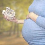 Беременная женщина смотрит часы Стоковая Фотография RF