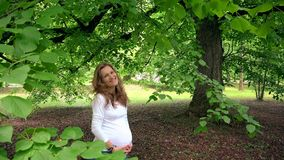Беременная женщина стоя под завтрак-обедами дерева и гладит рукой ее tummy акции видеоматериалы