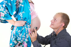 беременная женщина человека изолята Стоковое Изображение