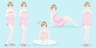 беременная женщина шаржа иллюстрация вектора