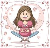 Беременная женщина - шарж вектора Стоковое Изображение RF