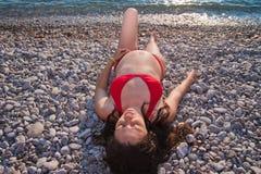 беременная женщина 2 пляжей Стоковое Фото