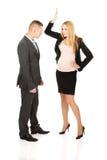 Беременная коммерсантка споря с ее партнером Стоковое Изображение