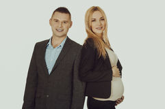 Беременная коммерсантка с ее партнером Стоковые Фото